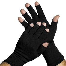 Load image into Gallery viewer, fingerless gloves in classic black. Keep warm and protect delicate hands