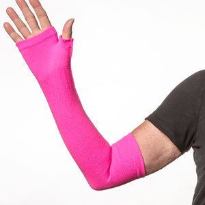 Pink long gloves with no fingers