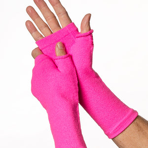 Pink colored fingerless gloves