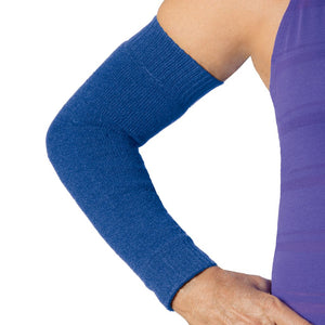 Royal blue sleeves to prevent skin tears