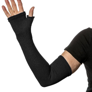 Long fingerless gloves for arm and hand protection