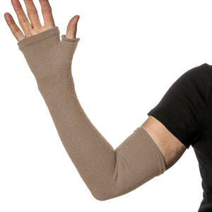 Keep arms warm with these long fingerless gloves