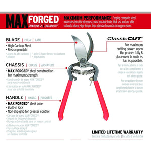 Max Forged Sharpness & Durability ClassicCUT Branch & Stem Pruner 3/4""