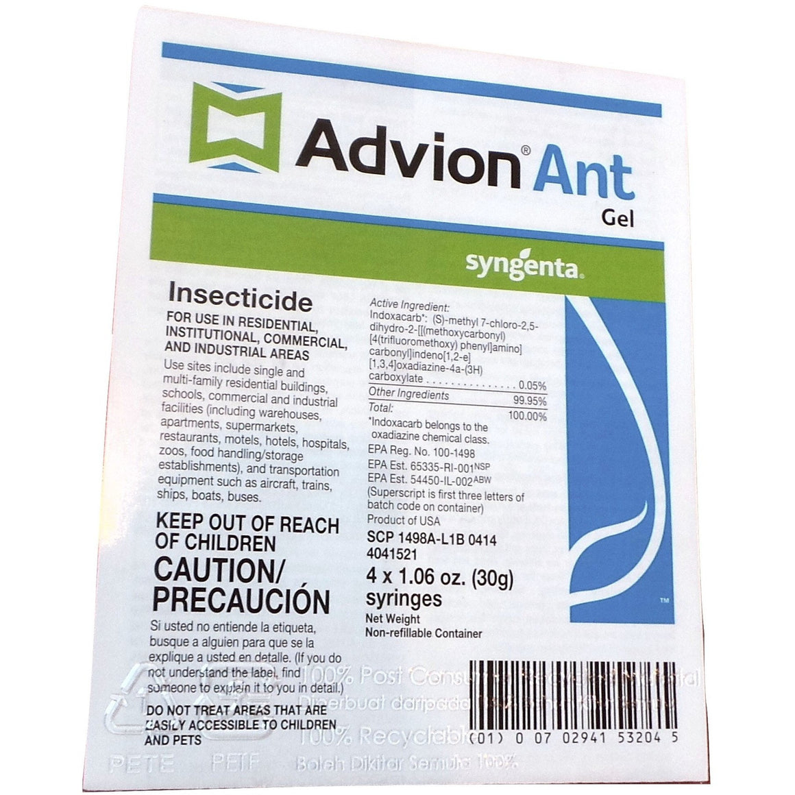 Advion Ant Gel Bait Insecticide - 4 x 1.06 Oz. Syringes