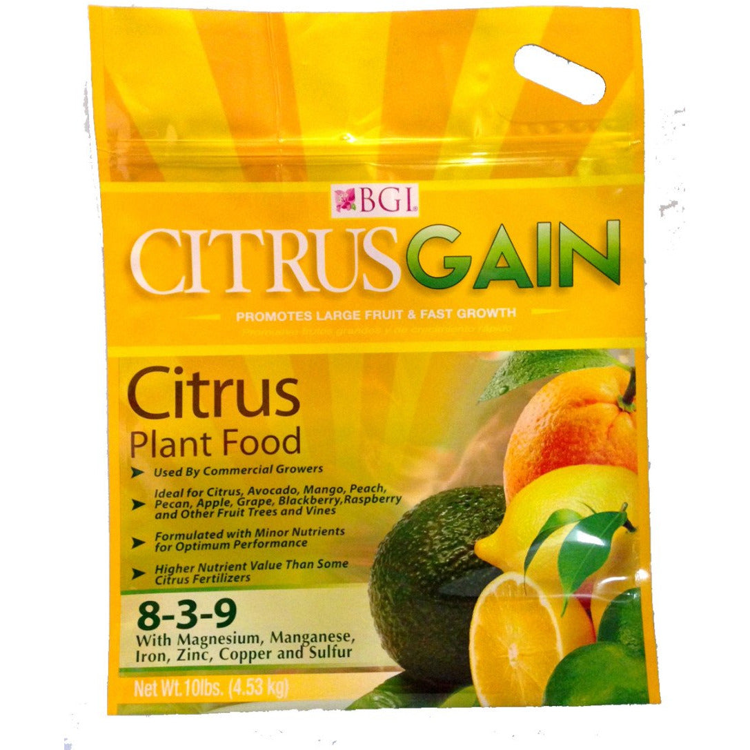 Bgi Citrusgain 8-3-9- Citrus Plant Food Fertilizer - 10lbs. - Seed World