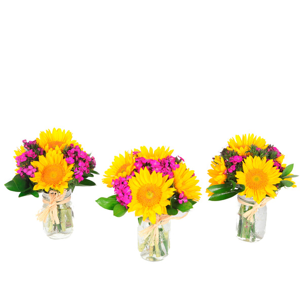 Happy Trio – 3 mason jar bouquets