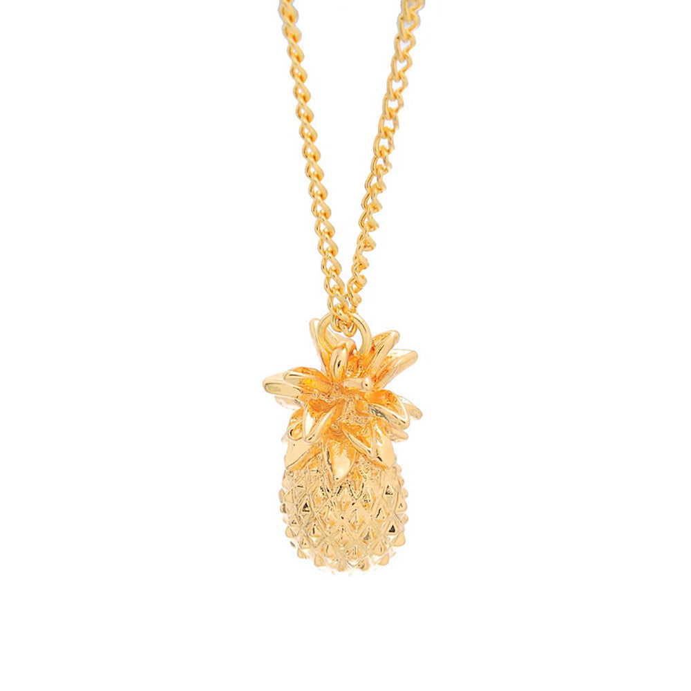Pineapple Pendant Link Chain Necklace Gold Plated Short Pendant Necklace - Pendants and Charms