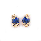 Stud earrings blue rhinestone gold tone  crown skull stud earrings - Pendants and Charms