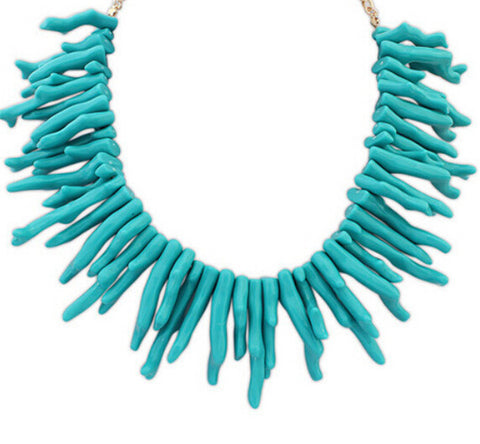Blue acrylic coral statement bib chocker necklace - Pendants and Charms