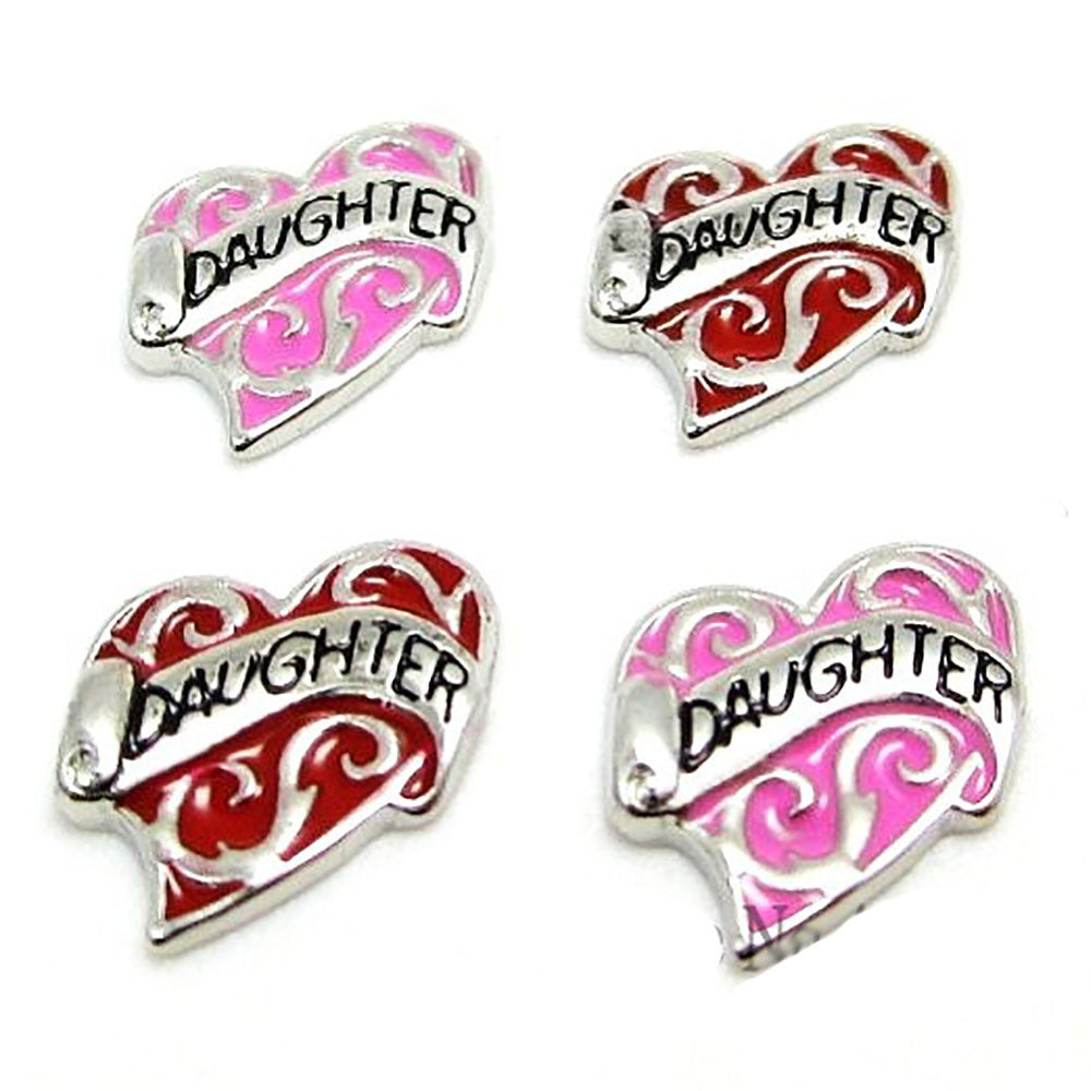 Daughter Red  heart Floating charms  and 5 birthstones locket Charm Bracelets necklace - Pendants and Charms