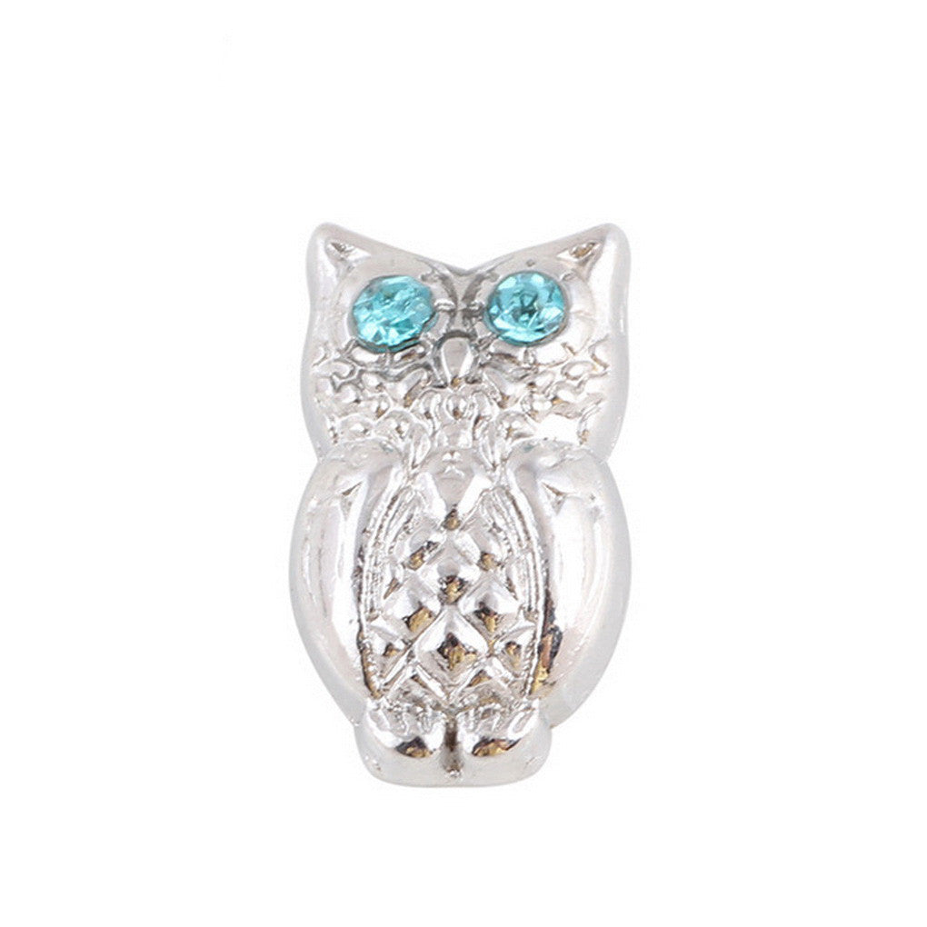 Floating charms Silver Owl with Blue Rhinestone  and 5 birthstones locket Charm Bracelets necklace - Pendants and Charms