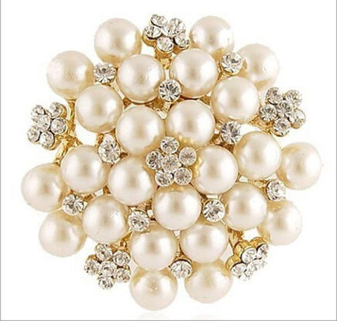 WHITE BRIDAL SILVER TONE BROOCH PIN FAUX PEARL FLOWER CRYSTAL RHINESTONE WEDDING - Pendants and Charms