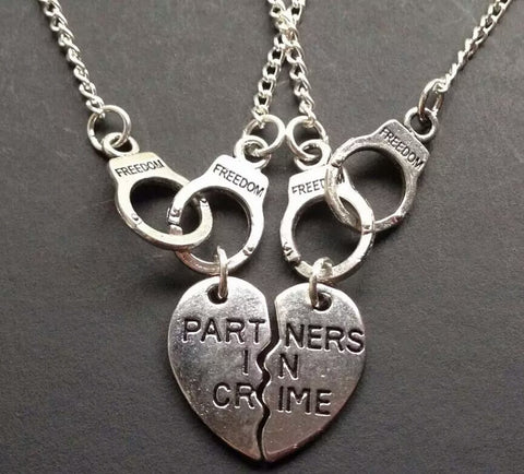Partners in Crime Cuffs Choker silver tone  necklace Necklace for 2 Partners Friendship Short Pendant Necklace - Pendants and Charms