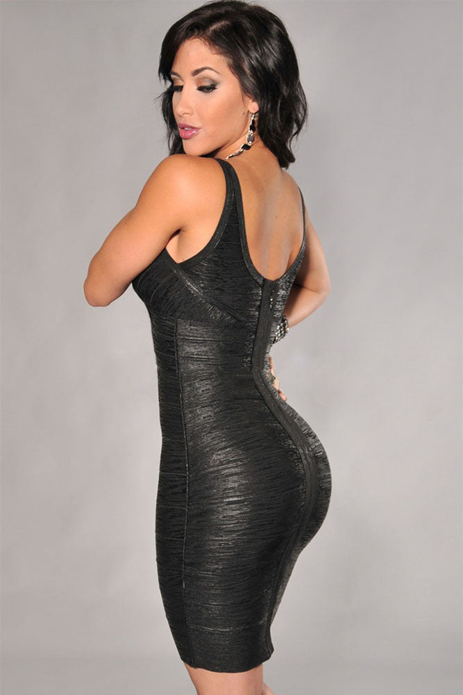 Black V-Neck Foil Print Bodycon Bandage Dress - Pendants and Charms