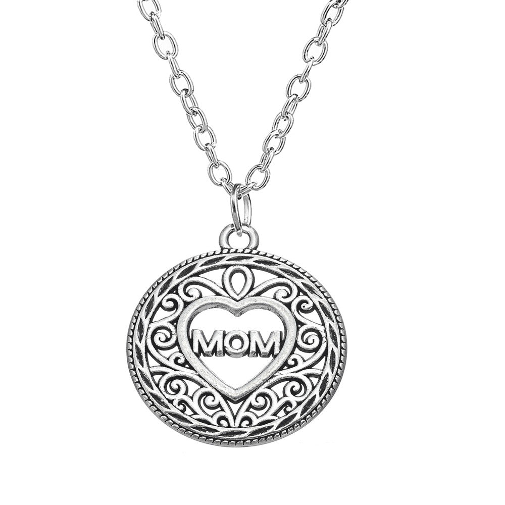 Mom silver Heart Necklace - Pendants and Charms