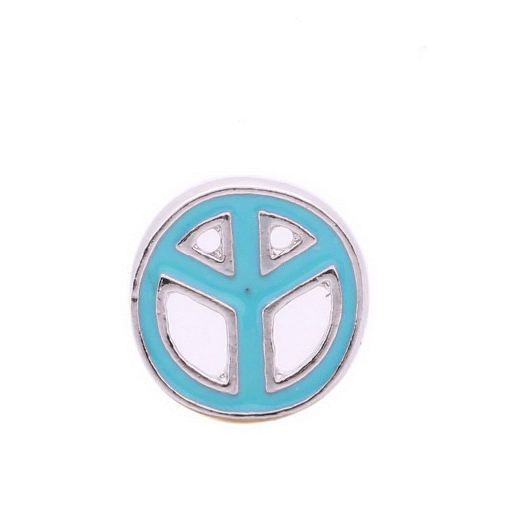 Floating charmsBlue Peace Symbol 5 birthstones locket Charm Bracelets necklace - Pendants and Charms