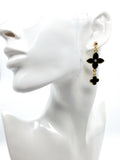 Black Clover Flower Long  Stud Drop Dangle Fashion Earrings