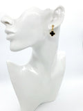 Black Clover Gold Plated Stud Drop Dangle Fashion Earrings