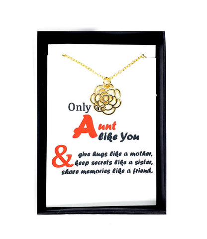 Aunt Necklace Auntie Gift Flower Jewelry with Message in Box