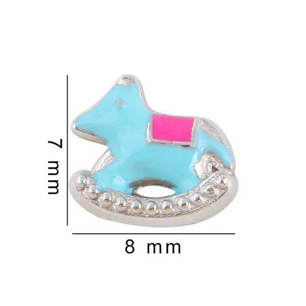 Floating charms Blue Rocking Horse 5 birthstones locket Charm Bracelets necklace - Pendants and Charms
