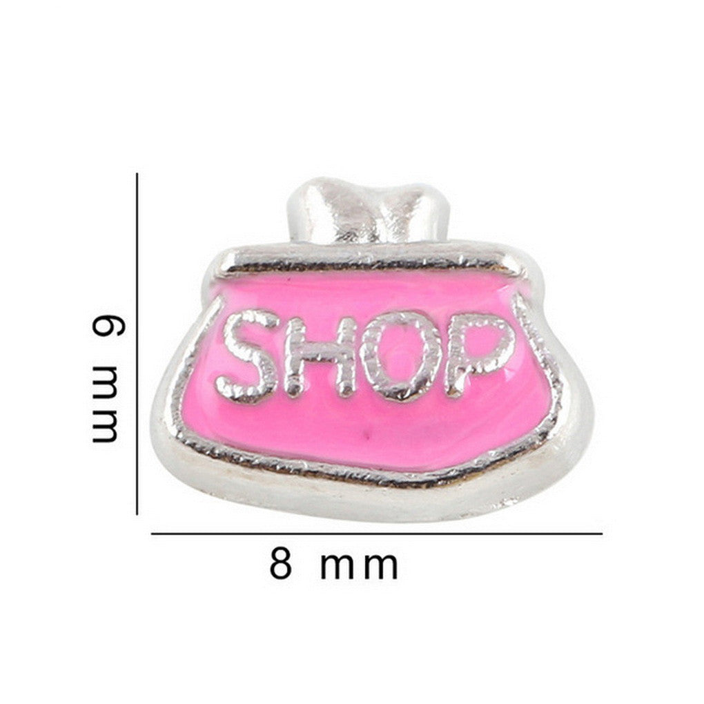Floating charms Pink Purse Shop 5 birthstones locket Charm Bracelets necklace - Pendants and Charms