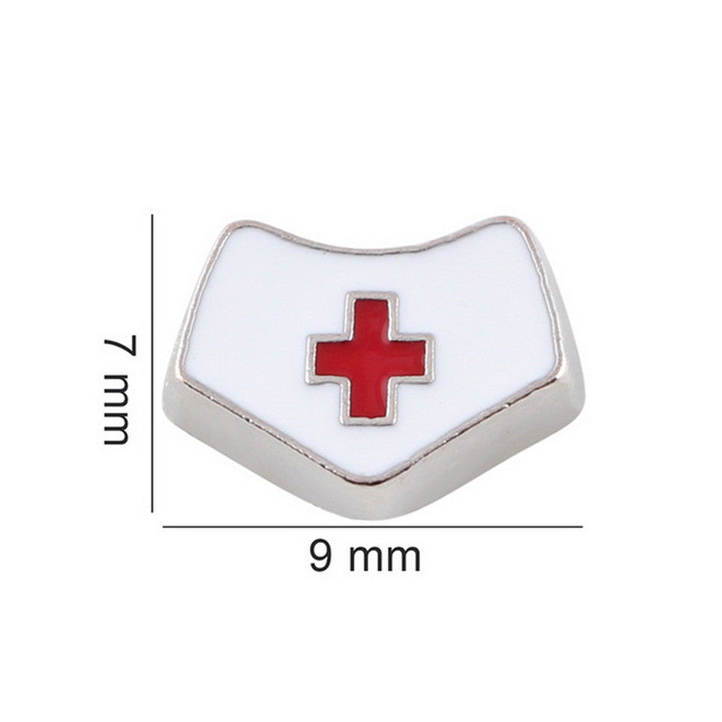 Floating charms nurse red cross cap5 birthstones locket Charm Bracelets necklace - Pendants and Charms