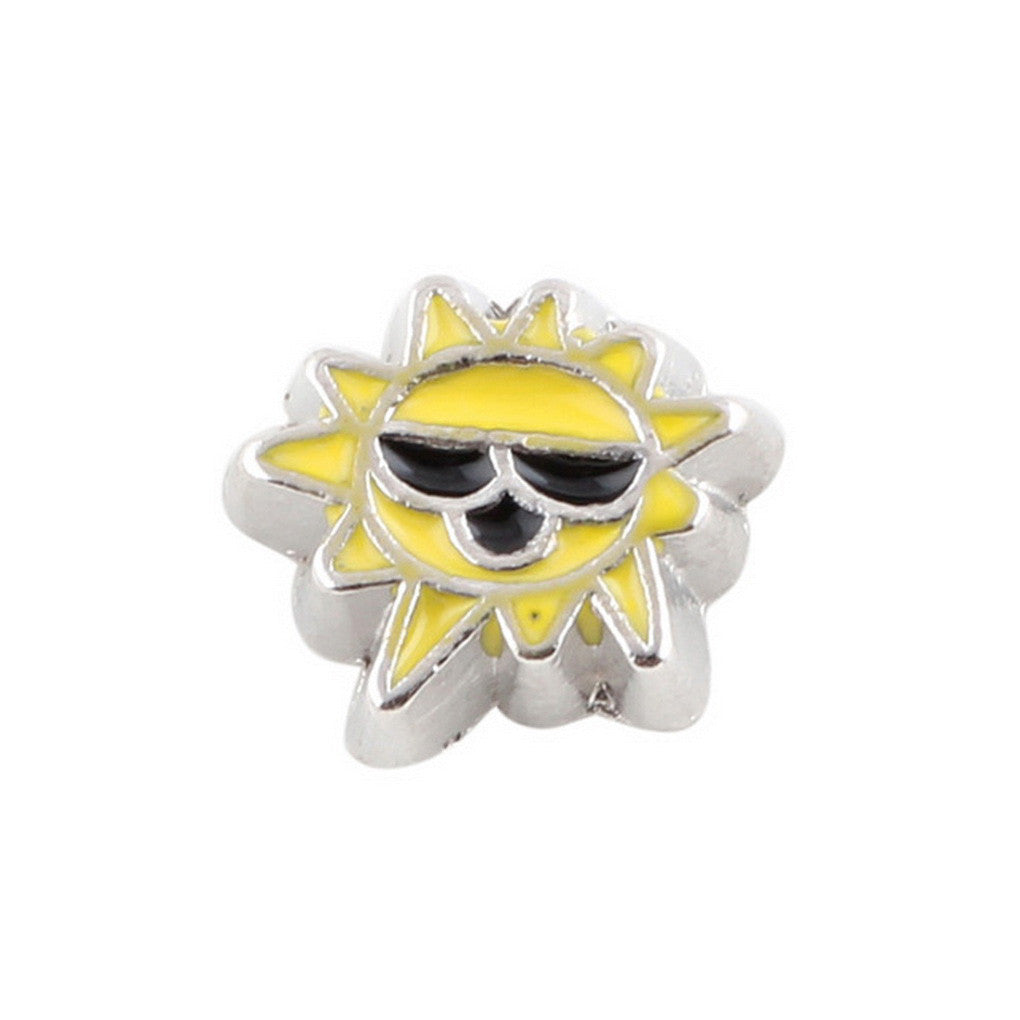 Floating charms Yellow Sun Sunshine 5 birthstones locket Charm Bracelets necklace - Pendants and Charms
