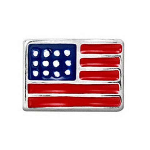 Floating charms American Flag and 5 birthstones locket Charm Bracelets necklace - Pendants and Charms