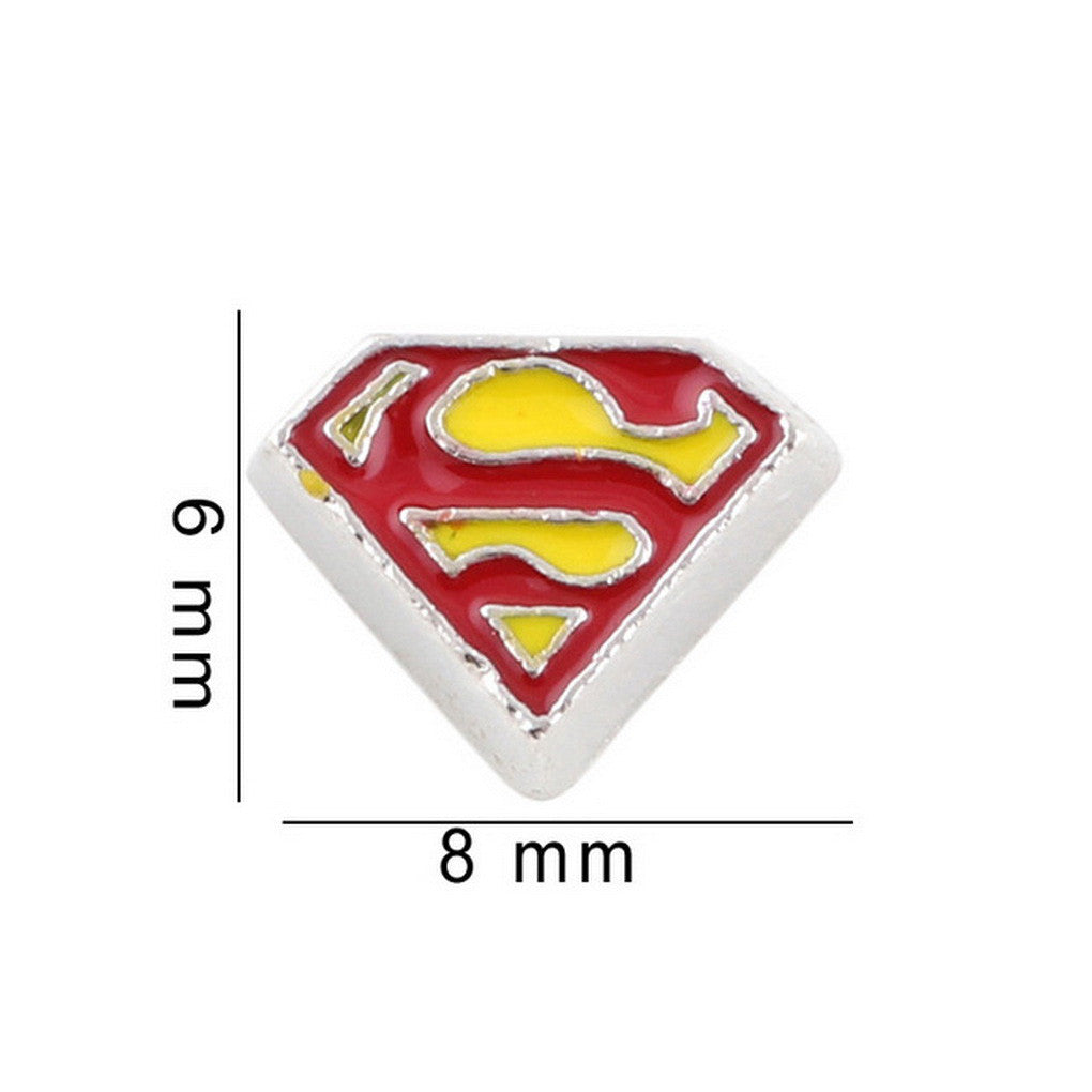 Floating charms superman 5 birthstones locket Charm Bracelets necklace - Pendants and Charms