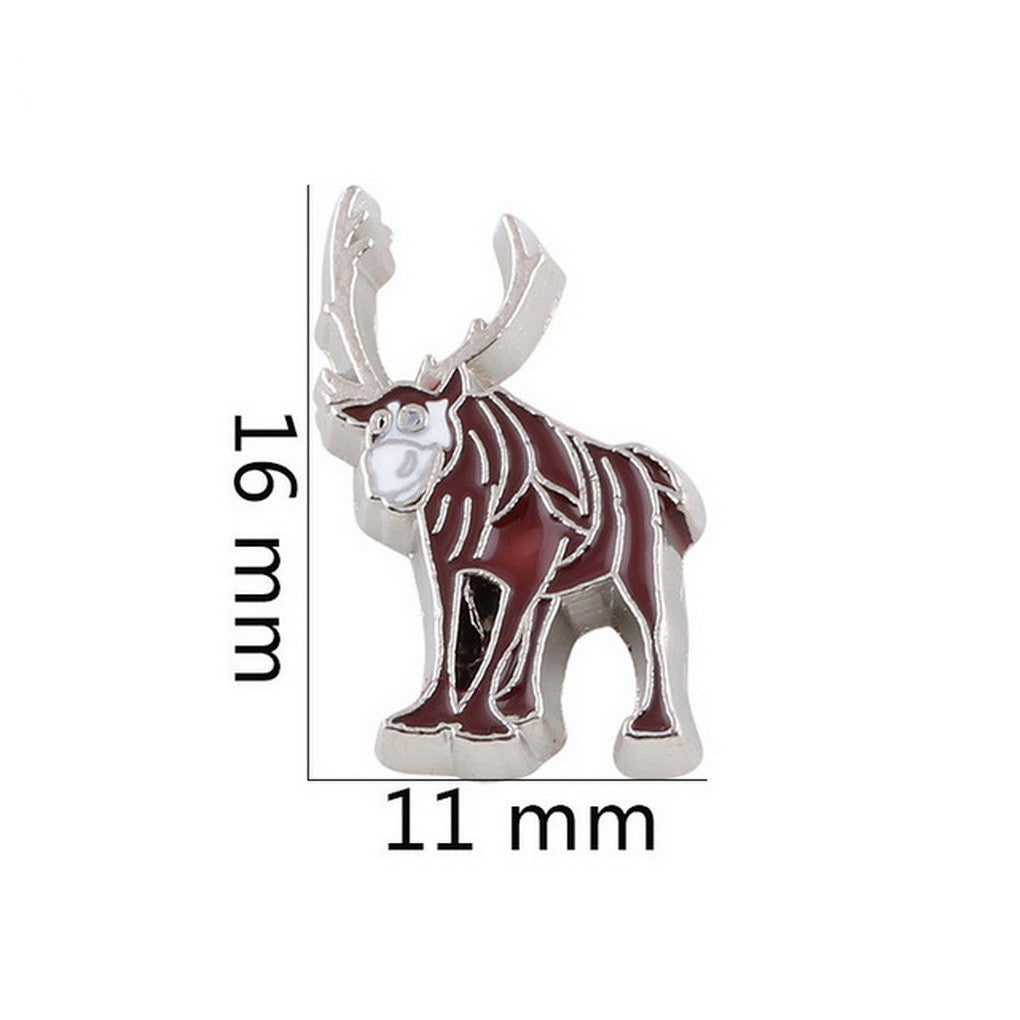 Floating charms cartoon moose rendier 5 birthstones locket Charm Bracelets necklace - Pendants and Charms