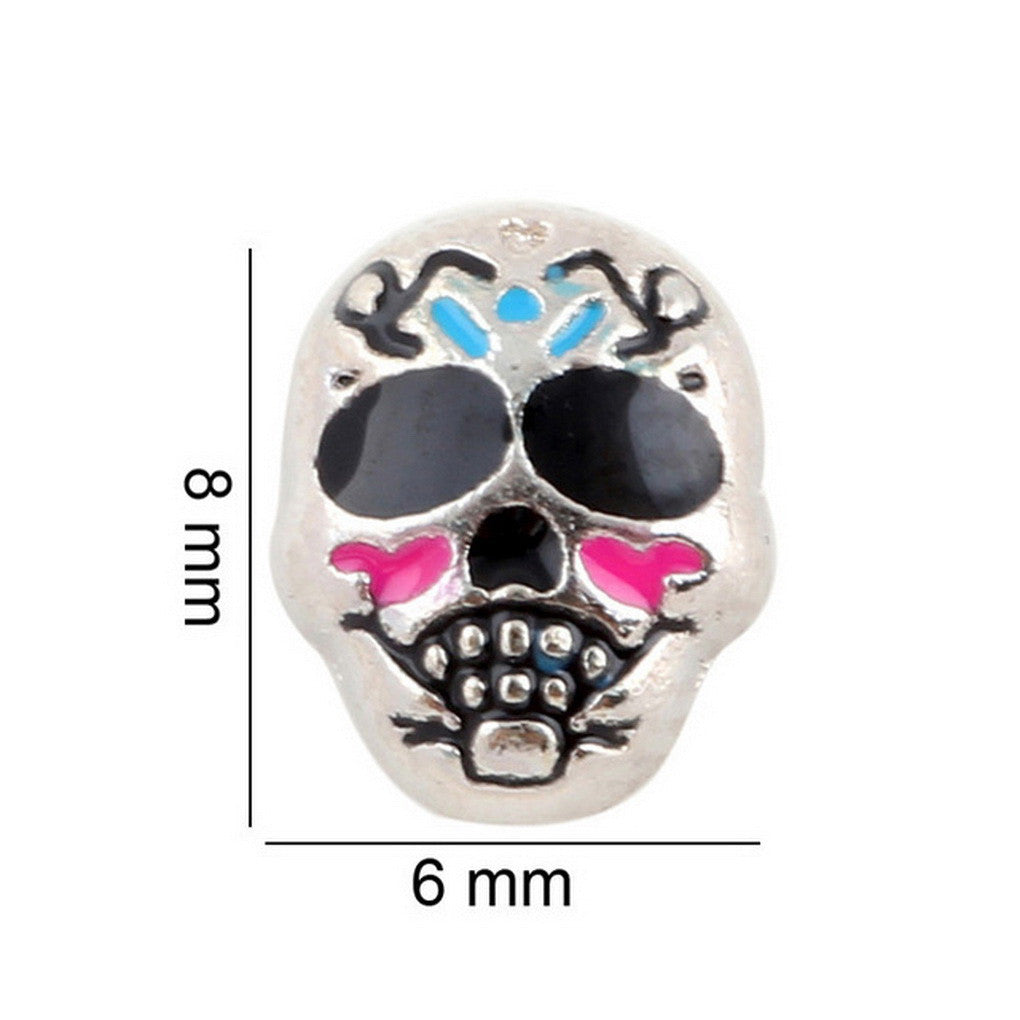 Floating charms Skull Halloween 5 birthstones locket Charm Bracelets necklace - Pendants and Charms