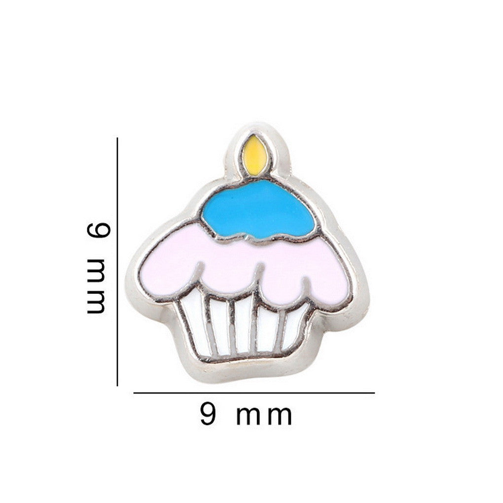 Floating charms Sweet Cup Cake 5 birthstones locket Charm Bracelets necklace - Pendants and Charms