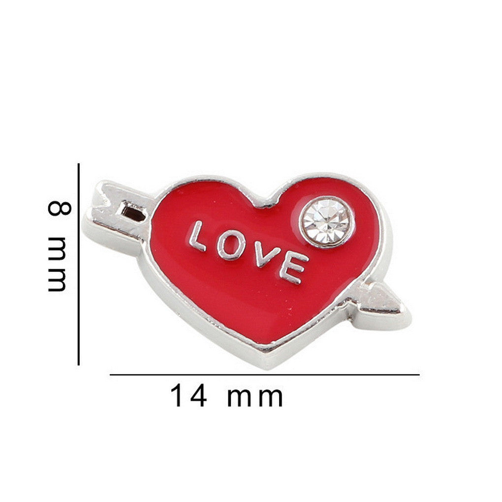 Floating charms Red Heart Love Rhinestone  5 birthstones locket Charm Bracelets necklace - Pendants and Charms