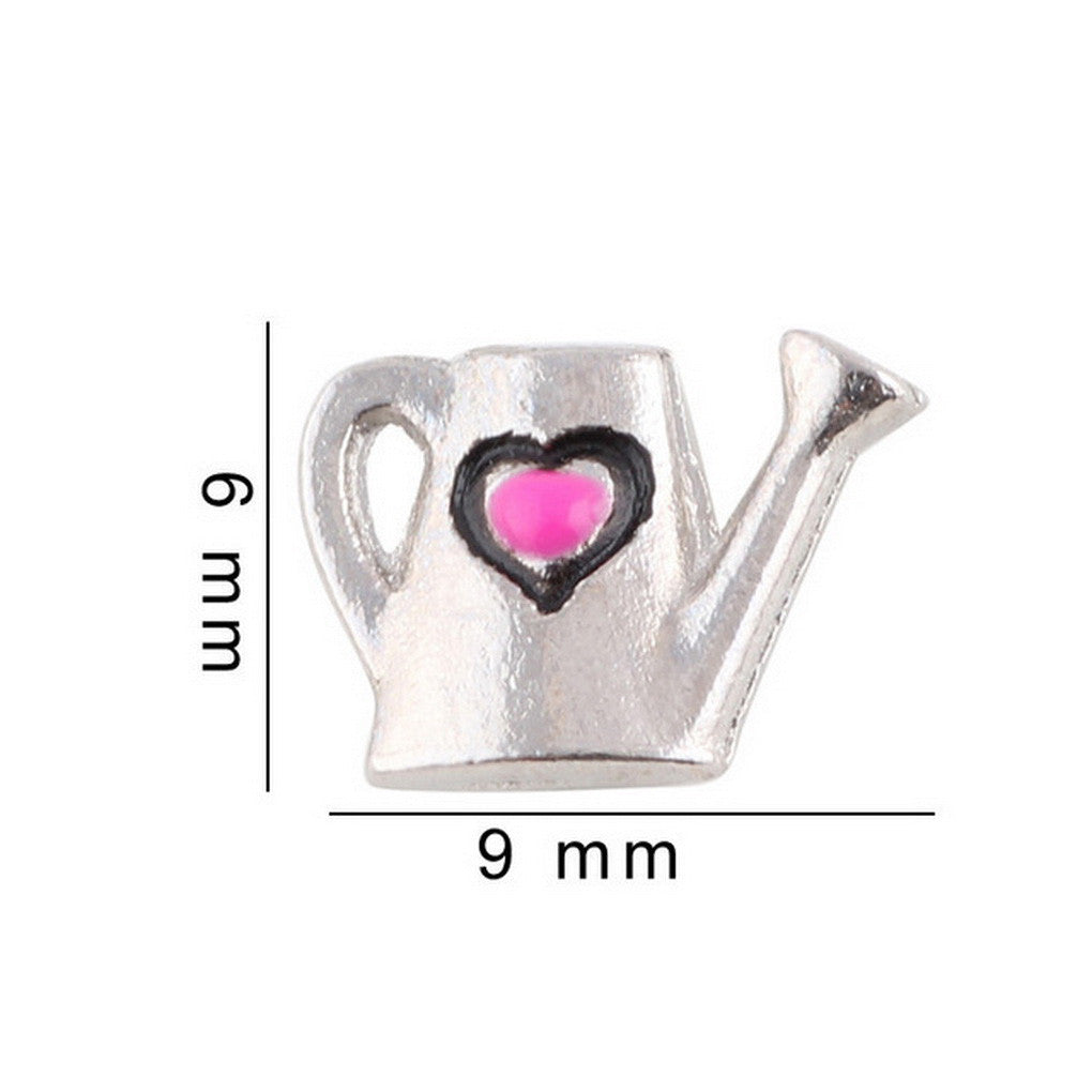 Floating charms Pink Heart Watering Can  5 birthstones locket Charm Bracelets necklace - Pendants and Charms