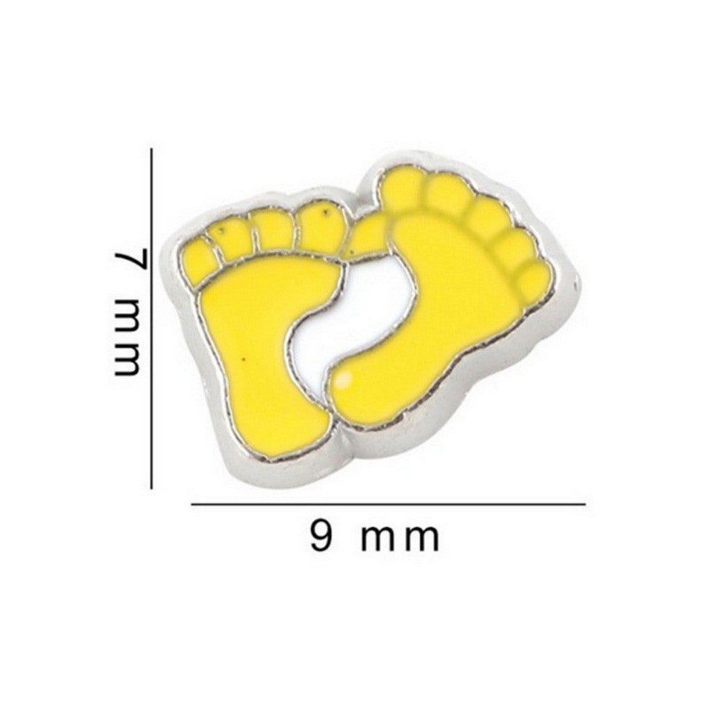 Floating charms Yellow Feet Baby feet 5 birthstones locket Charm Bracelets necklace - Pendants and Charms