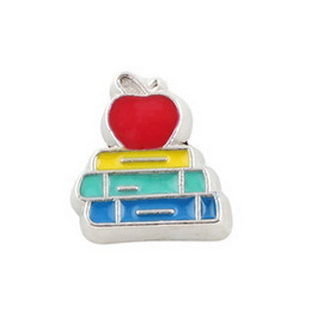 Floating charms Apple and Books Scholl 5 birthstones locket Charm Bracelets necklace - Pendants and Charms