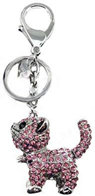 Rhinestones Dog Cat Pet Animal Key Ring Key Chain Charm Pendant Accessory