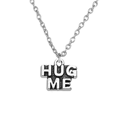 Hug me Old Silver Chain Pendant Necklace Word s and Quotes Charms Pendant