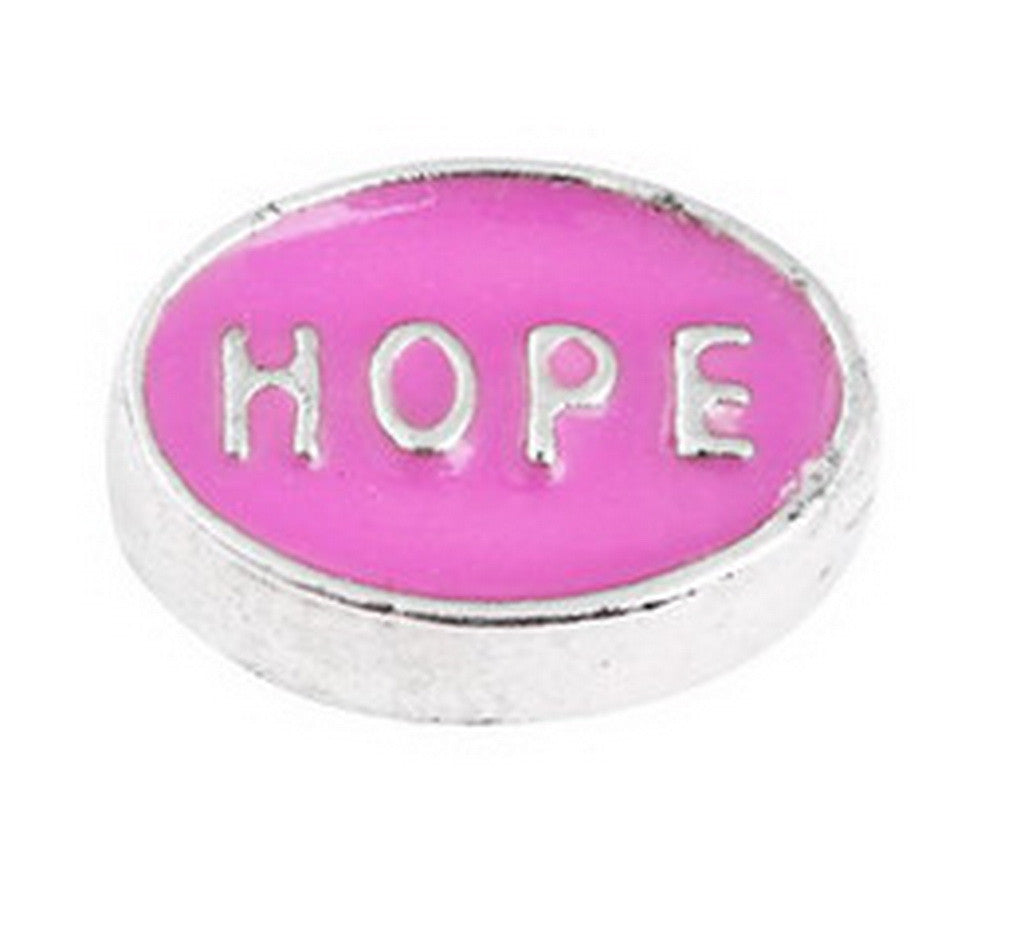 Floating charms Pink Hope Sympol 5 birthstones locket Charm Bracelets necklace - Pendants and Charms