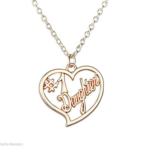 Daughter Number one Heart Gold Tone Filigree Chain Pendant Necklace