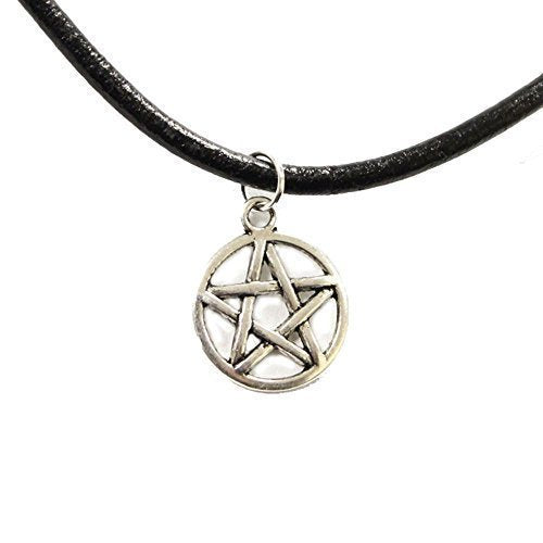 Live It Style It New Leather Choker Charm Necklace Vintage Hippy Retro Black Cord Star