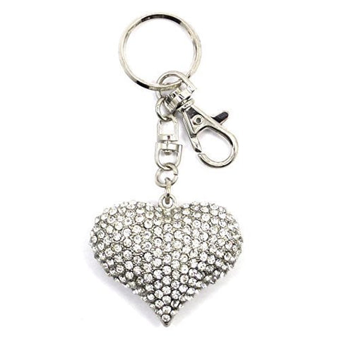 Rhinestones Heart Love Key Ring Key Chain Charm Pendant Accessory