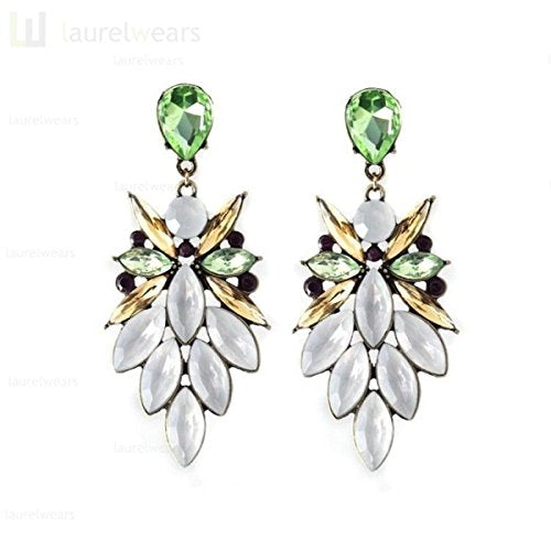 White Green Crystal Resin Drop Flower Stud Earrings