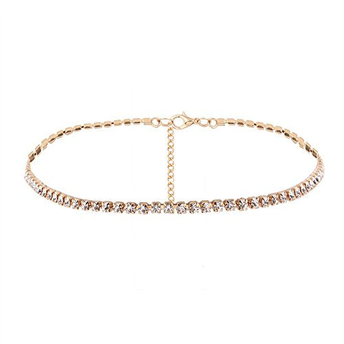 Rhinestones Choker Necklace Gold Crystal Collar in Organza Gift Bag