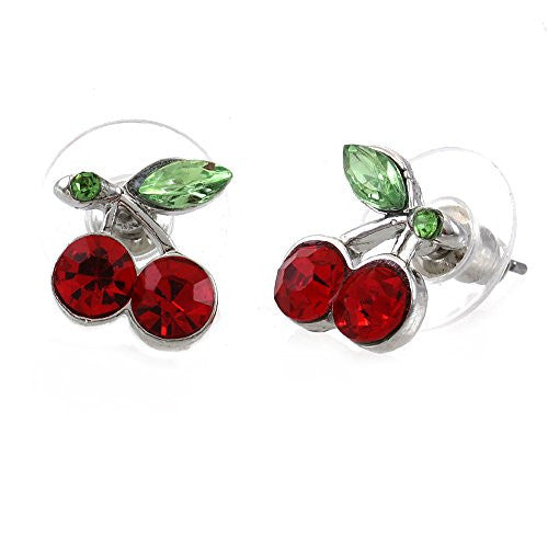 Red  small rhinestone cherries Stud Fashion Earrings - Pendants and Charms