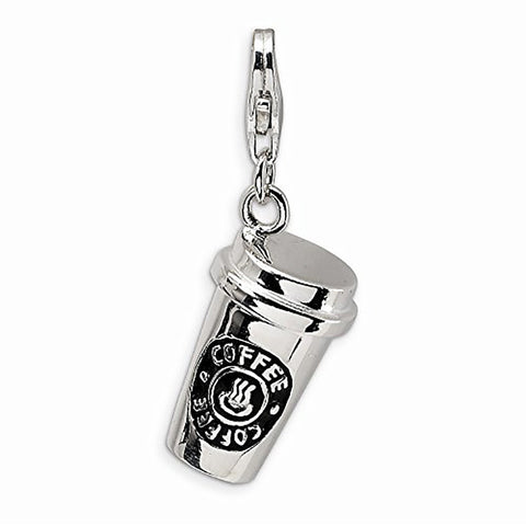 Coffee cup Tea Mug lobster clip on Charms silver word charms for floating necklace bracelet - Pendants and Charms