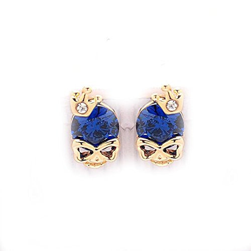 Women's Gold Tone white Diamond Skull Pierced Stud Earrings Halloween (blue) - Pendants and Charms