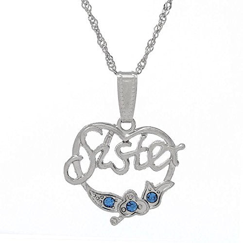 heart shape sister sis blue rhinestone pendant necklace B39465