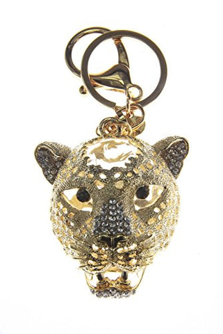 Rhinestones Big Cat Head Jaguar Key Ring Key Chain Charm Pendant Accessory