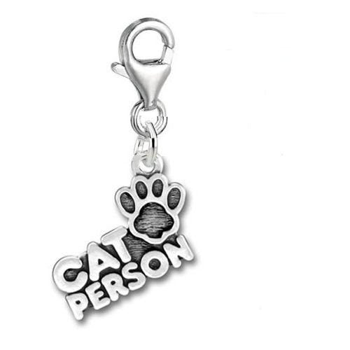 Clip On Charm Cat Person Message Charms Tibetan Silver Sterling Silver Charm in Organza Gift Bag